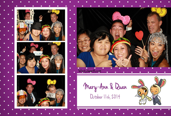 Wacky booth guests with photo booth props